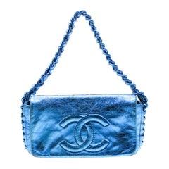 Chanel Blue Metallic Leather Modern Chain Flap Shoulder Bag
