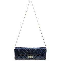 Chanel Blue Metallic Quilted Leather Mademoiselle Lock Clutch