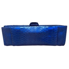 Chanel Blue Metallic Snakeskin Clutch