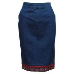 Chanel Blue & Multicolor 1991 Denim Tweed-Trimmed Skirt