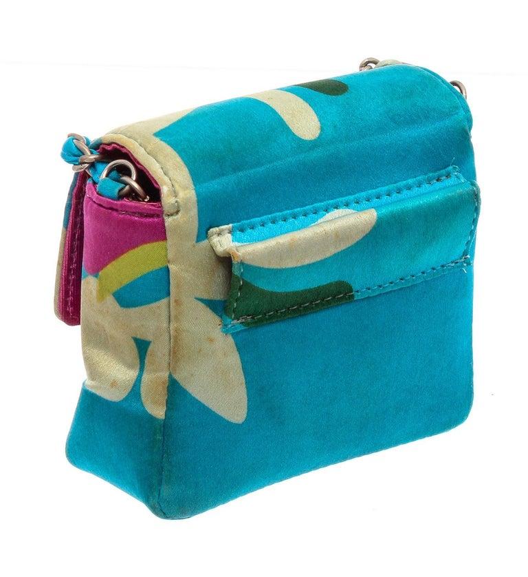 Chanel Blue Multicolor Satin Mini Chain Crossbody Bag In Good Condition For Sale In Irvine, CA