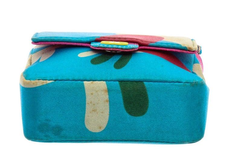 Women's Chanel Blue Multicolor Satin Mini Chain Crossbody Bag For Sale