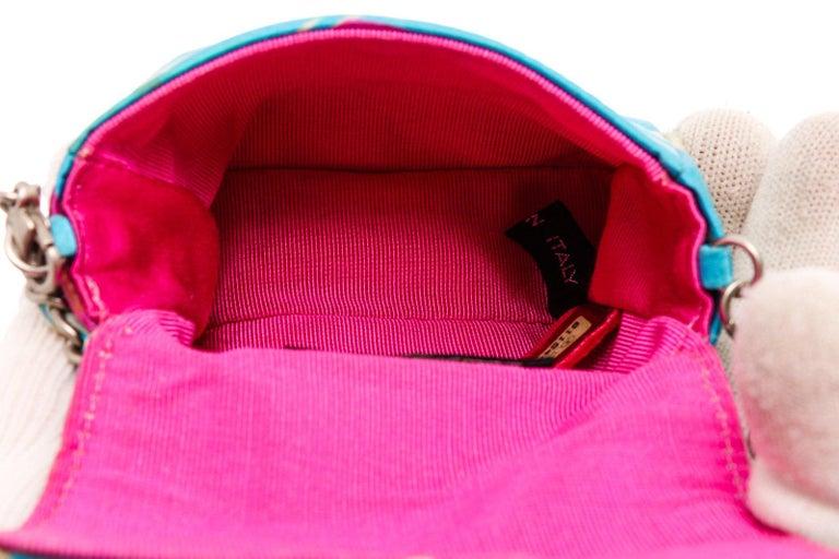 Chanel Blue Multicolor Satin Mini Chain Crossbody Bag For Sale 1