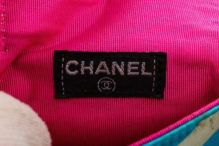 Chanel Blue Multicolor Satin Mini Chain Crossbody Bag For Sale 3