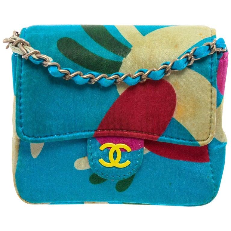 Chanel Blue Multicolor Satin Mini Chain Crossbody Bag For Sale