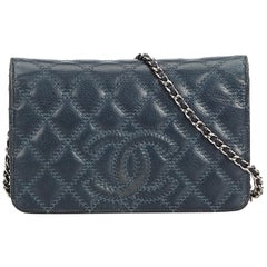 Chanel Blue Navy Leather CC Lambskin Wallet on Chain France