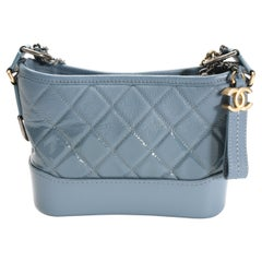 Chanel Blue Ombré Quilted Patent Leather & Aged Calfskin Small Gabrielle Hobo