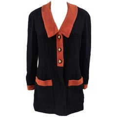 Chanel blue orange wool blazer / jacket