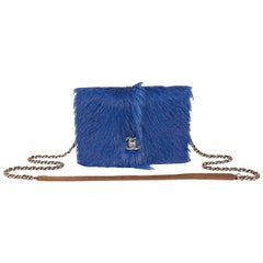 Chanel Blue Orlay Fur and Distressed Brown Leather Wallet on a Chain WOC