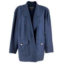 Chanel Blue Oversize Longline Jacket - Size US 8