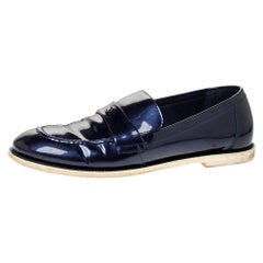 Chanel Blue Patent Leather CC Loafer Size 38.5