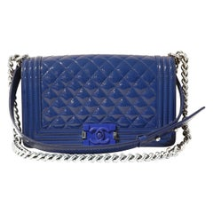 Chanel Blue Patent Leather Plexiglass Boy Bag