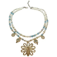 Chanel Pearl & Blue Bead Bee Pendant Necklace, 2017