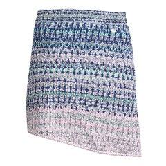 CHANEL blue pink 2018 ASYMMETRIC LUREX MINI Skirt 38 S