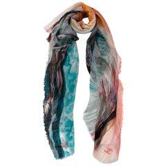 Chanel Blue & Pink Printed Silk & Cashmere Shawl