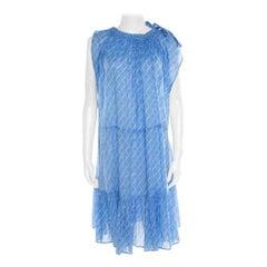 Chanel Blue Printed Cotton Shoulder Tie Detail Dress M