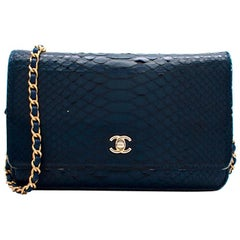 Chanel Blue Python CC Wallet on Chain