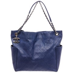 Chanel Blue Quilted Caviar Leather Medium CC Chain Pocket Tote Shoulder Bag
