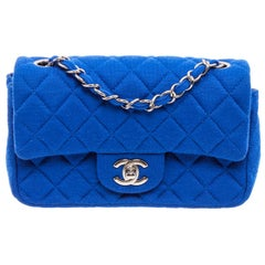 Chanel Blue Quilted Jersey Small Flap Shoulder Bag