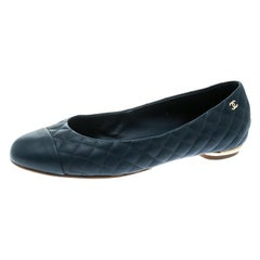 Chanel Blue Quilted Leather Cap Toe Ballet Flats Size 39