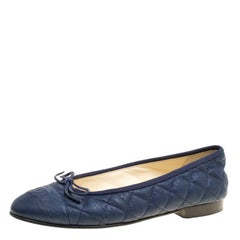 Chanel Blue Quilted Leather CC Bow Ballet Flats Size 36.5