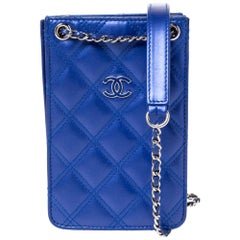 Chanel Blue Quilted Leather Crossbody Phone Holder
