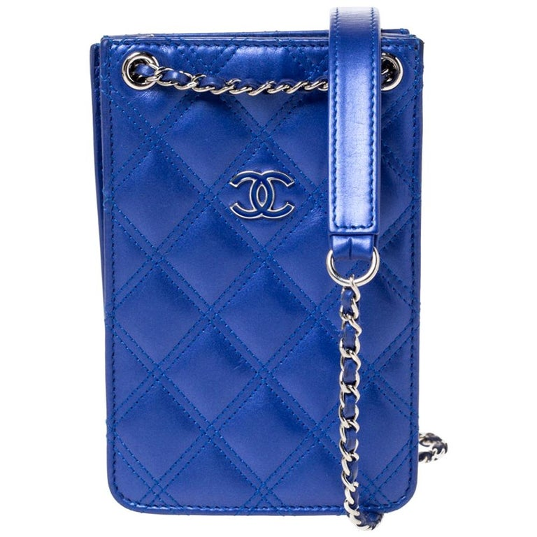 Chanel Blue Quilted Leather Crossbody Phone Holder For Sale