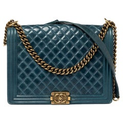 Chanel Blue Quilted Leather Large Boy Flap Bag