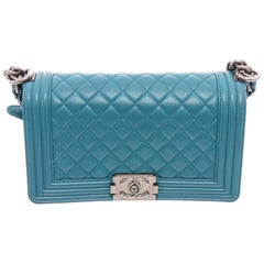 Chanel Blue Quilted Leather Medium Boy Bag