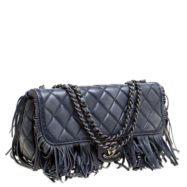 Chanel Blue Quilted Leather Paris Dallas Fringe Flap Shoulder Bag ... e3f89e335254a