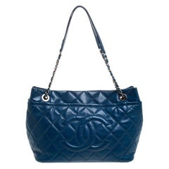 Chanel Blue Quilted Leather Timeless CC Shopper Tote