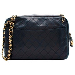 Chanel Blue Quilted Leather Vintage Camera Bag