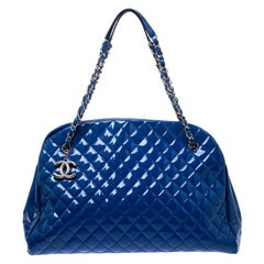 Chanel Blue Quilted Patent Leather Large Just Mademoiselle Bowler Bag