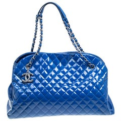 Chanel Blue Quilted Patent Leather Large Just Mademoiselle Bowling Bag