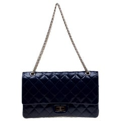 Chanel Blue Quilted Patent Leather Reissue 227 Flap Bag