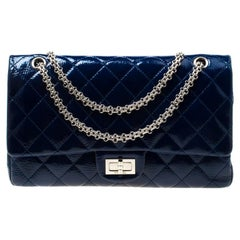Chanel Blue Quilted Patent Leather Reissue 2.55 Classic 227 Flap Bag