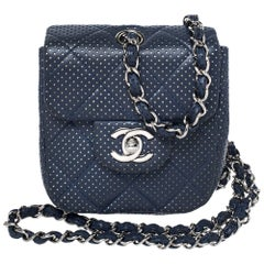 Chanel Blue Quilted Perforated Leather Mini Crossbody Bag