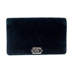 Chanel Blue Quilted Velvet Boy Long Flap Wallet