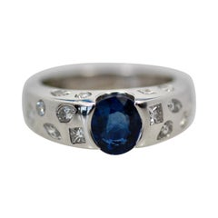 Chanel Blue Sapphire Diamond Ring 18 Karat
