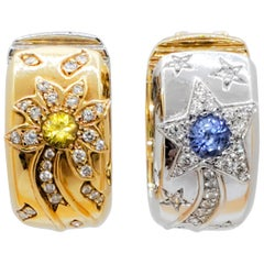 Chanel Blue Sapphire, Yellow Sapphire, and Diamond Day and Night Earrings in 18k