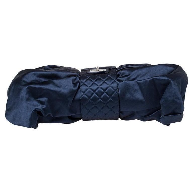 Chanel Blue Satin 2.55 Reissue Ribbon Shoulder Bag For Sale 5