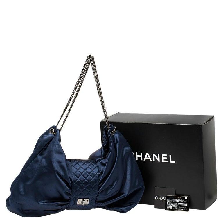 Chanel Blue Satin 2.55 Reissue Ribbon Shoulder Bag For Sale 7
