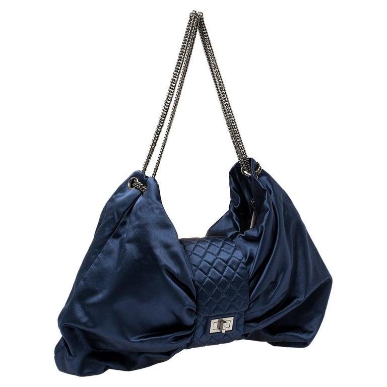 Black Chanel Blue Satin 2.55 Reissue Ribbon Shoulder Bag For Sale