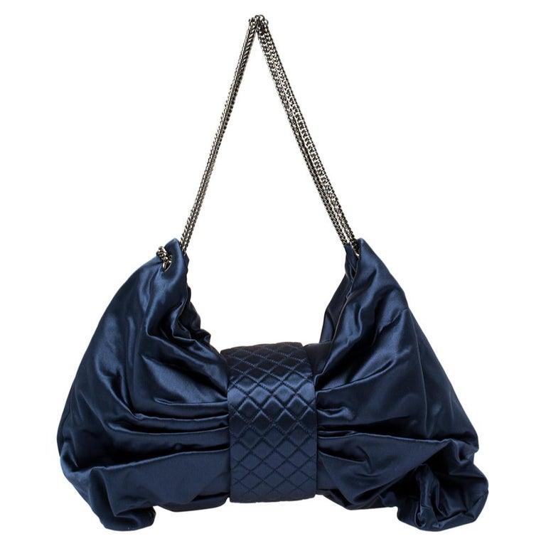 Chanel Blue Satin 2.55 Reissue Ribbon Shoulder Bag In Good Condition For Sale In Dubai, Al Qouz 2