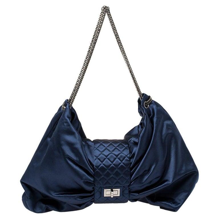 Chanel Blue Satin 2.55 Reissue Ribbon Shoulder Bag For Sale