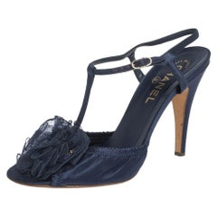 Chanel Blue Satin Flower Scrunch Peep Toe Ankle Strap Sandals Size 40