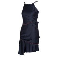 Chanel Blue Silk Sleeveless Tweed Bow Dress, 2008