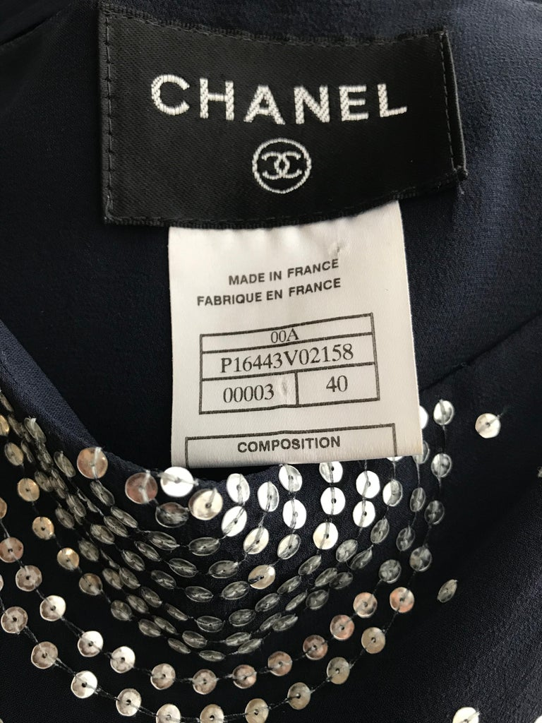 Chanel Blue Silk Spaghetti Straps Jumpsuit In Good Condition For Sale In Beverly Hills, CA