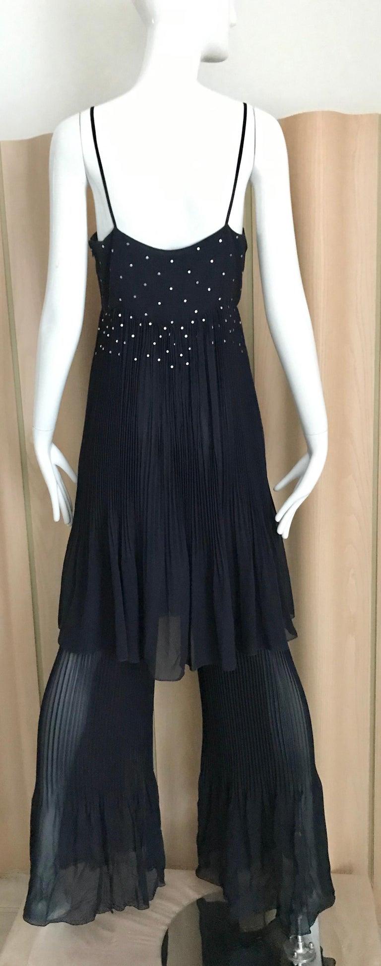 Black  Chanel Blue Silk Spaghetti Straps Jumpsuit For Sale