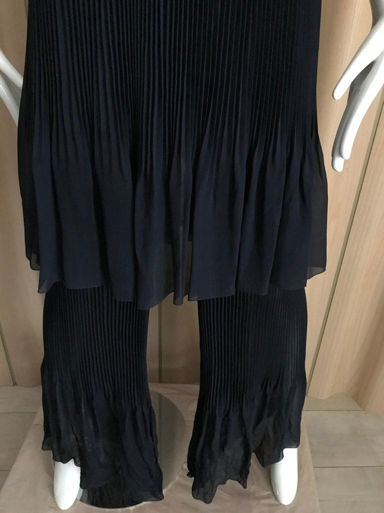 Chanel Blue Silk Spaghetti Straps Jumpsuit For Sale 1